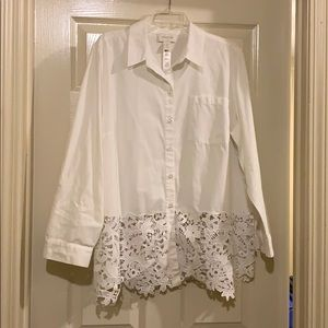 Chicos white shirt top with lace size 3